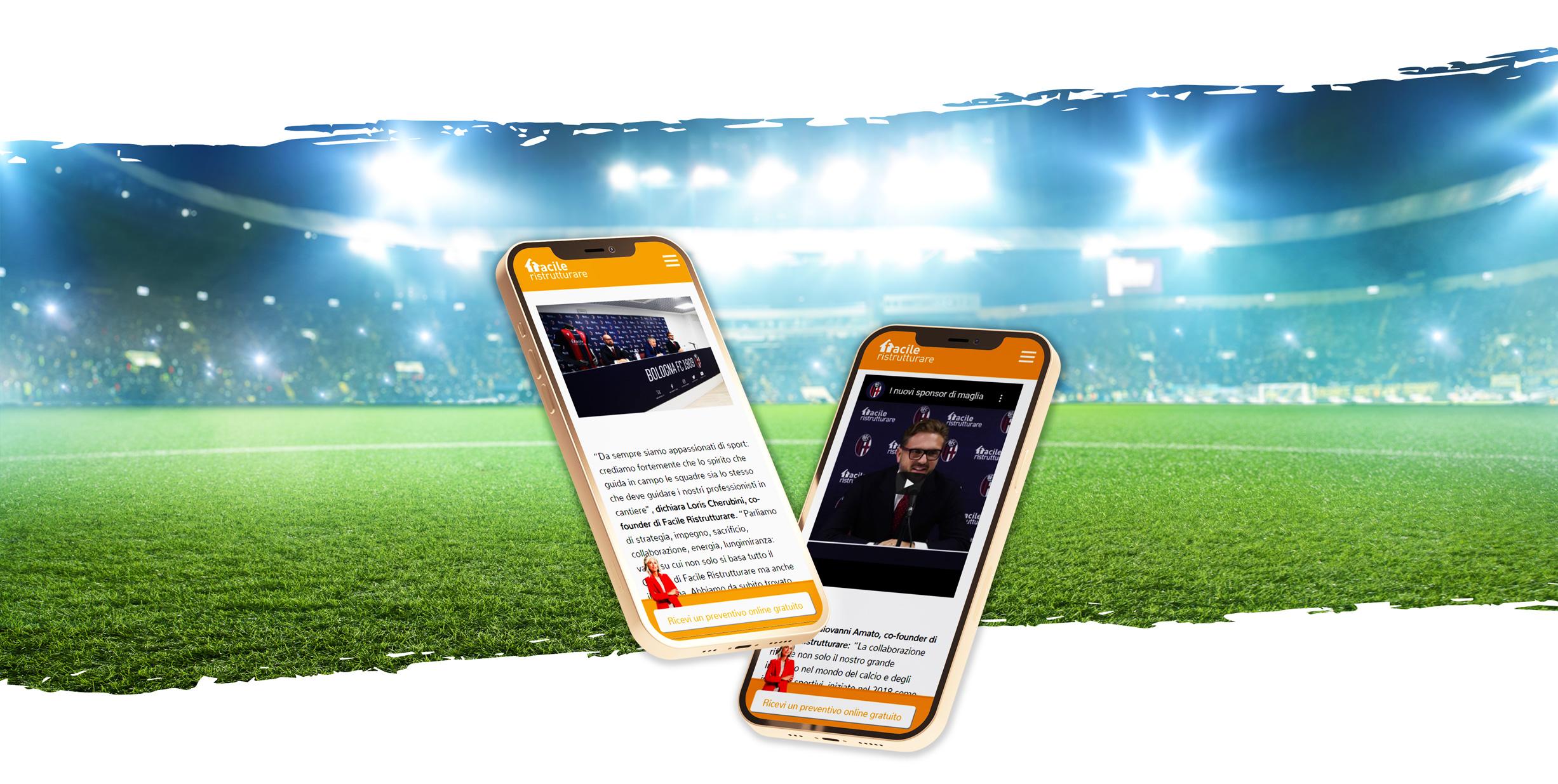 Smartphone con sito web di Facile Ristrutturare con stadio di sfondo