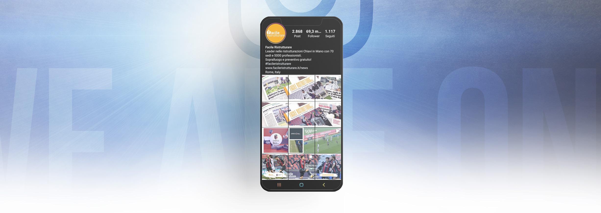 smartphone con profilo instagram di facile ristrutturare