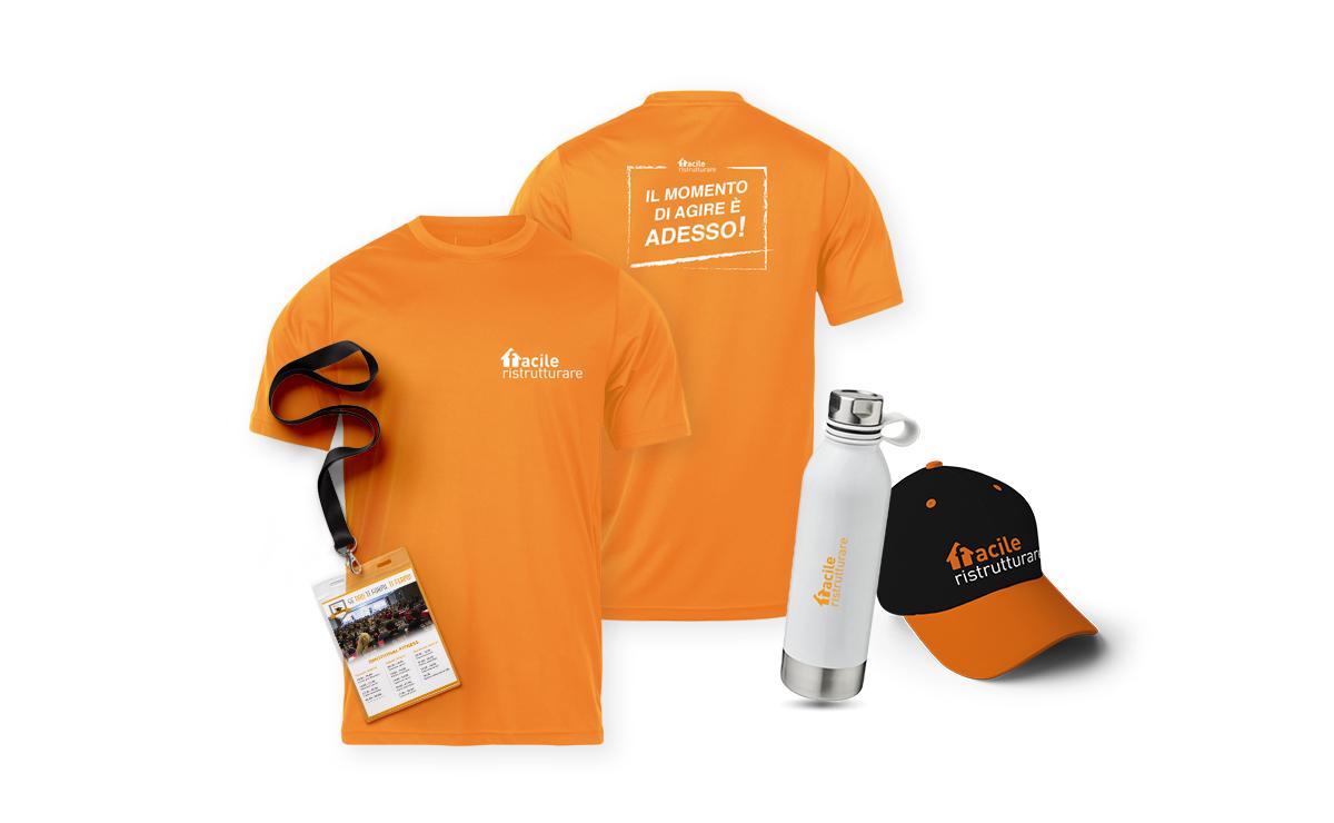 Magliette, T-Shirt, borraccia e cappellino con visiera brandizzati facile ristrutturare
