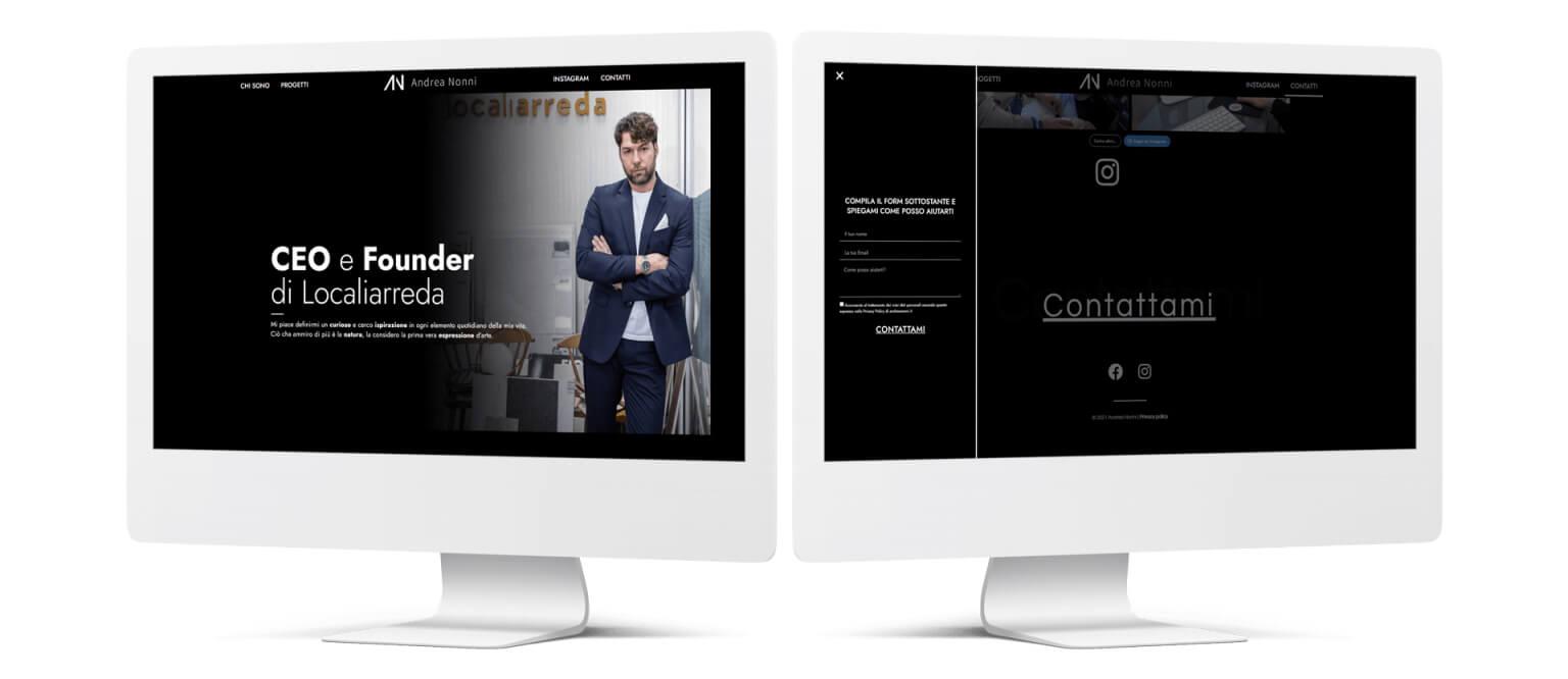 iMac sito personale Andrea Nonni Localiarreda Personal Branding