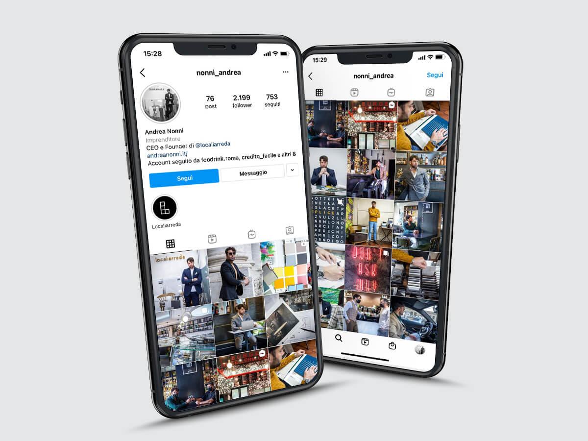 Smartphone iPhone profilo instagram Andrea Nonni Localiarreda Personal Branding